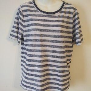 Loft Reverse Print Beaded Neck Short Sleeve Blouse